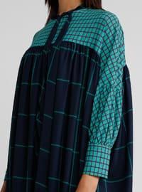 Navy Blue - Turquoise - Multi - Polo neck - Dress