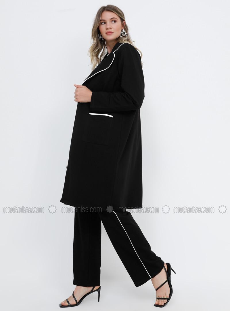 Black - White - Ecru - Shawl Collar - Unlined - Cotton - Plus Size Suit