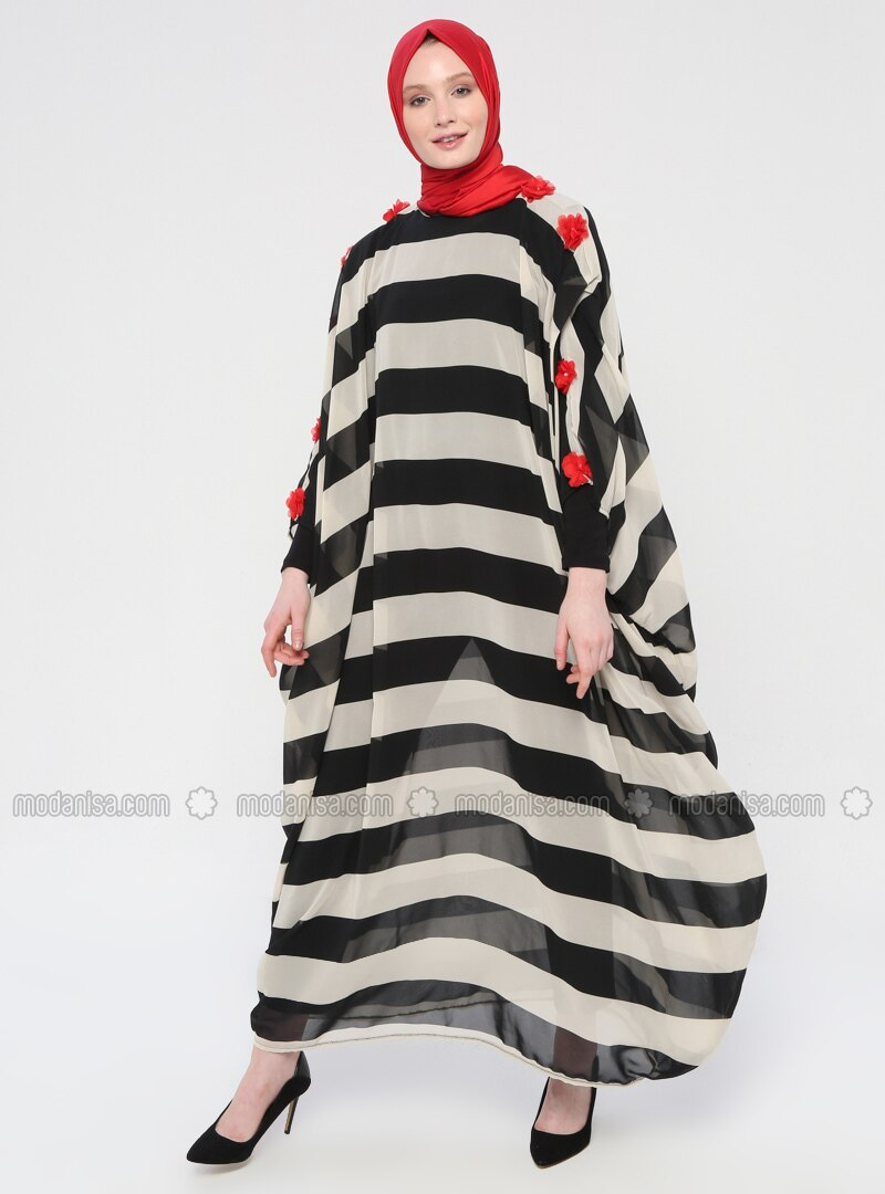 Red - Black - Stripe - Unlined - Crew neck - Abaya