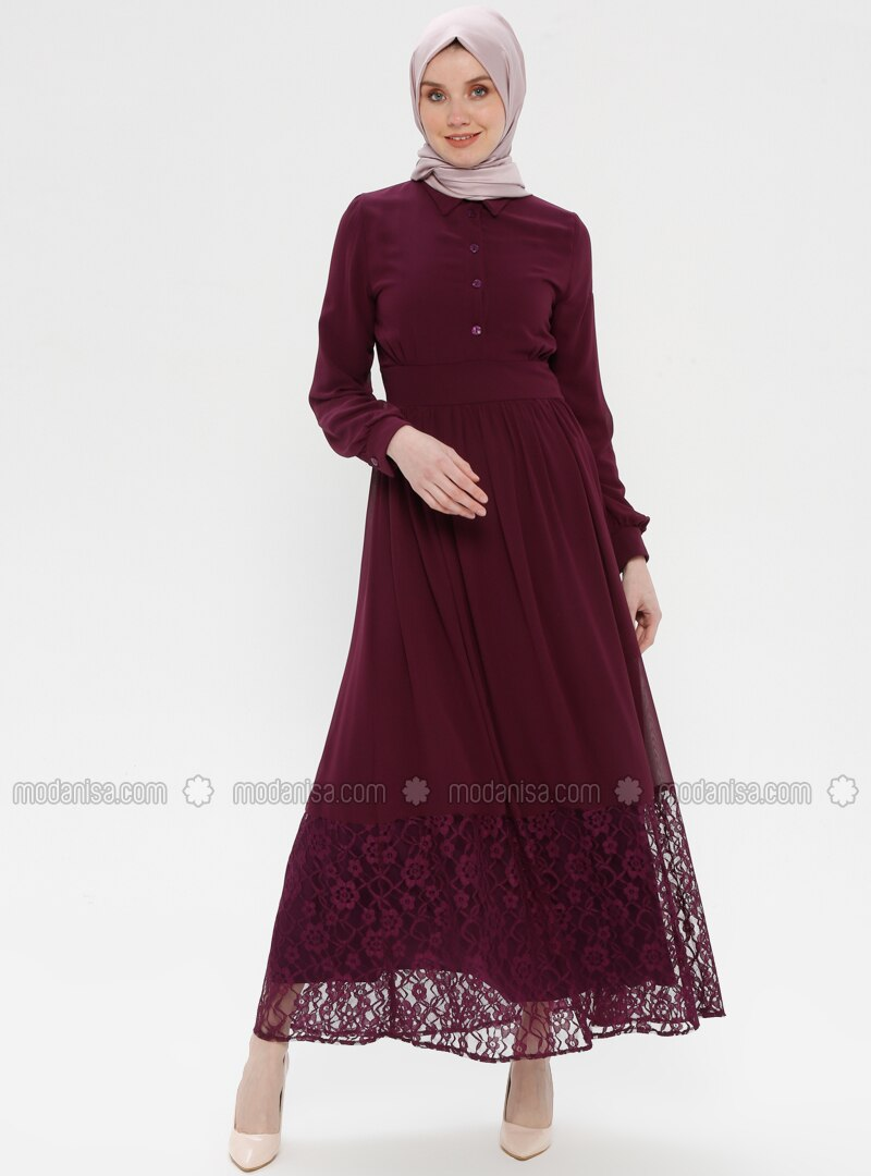 Purple - Fully Lined - Point Collar - Muslim Evening Dress