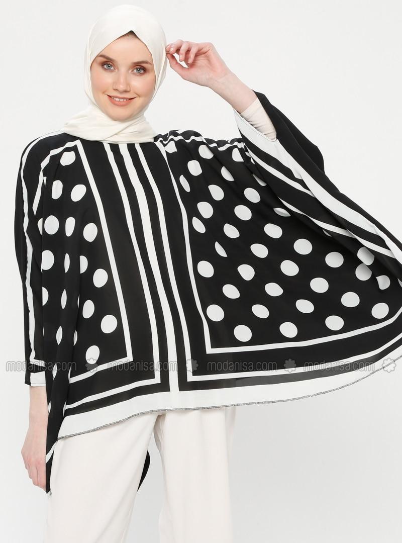 Black - Polka Dot - Stripe - Crew neck - Unlined - Poncho