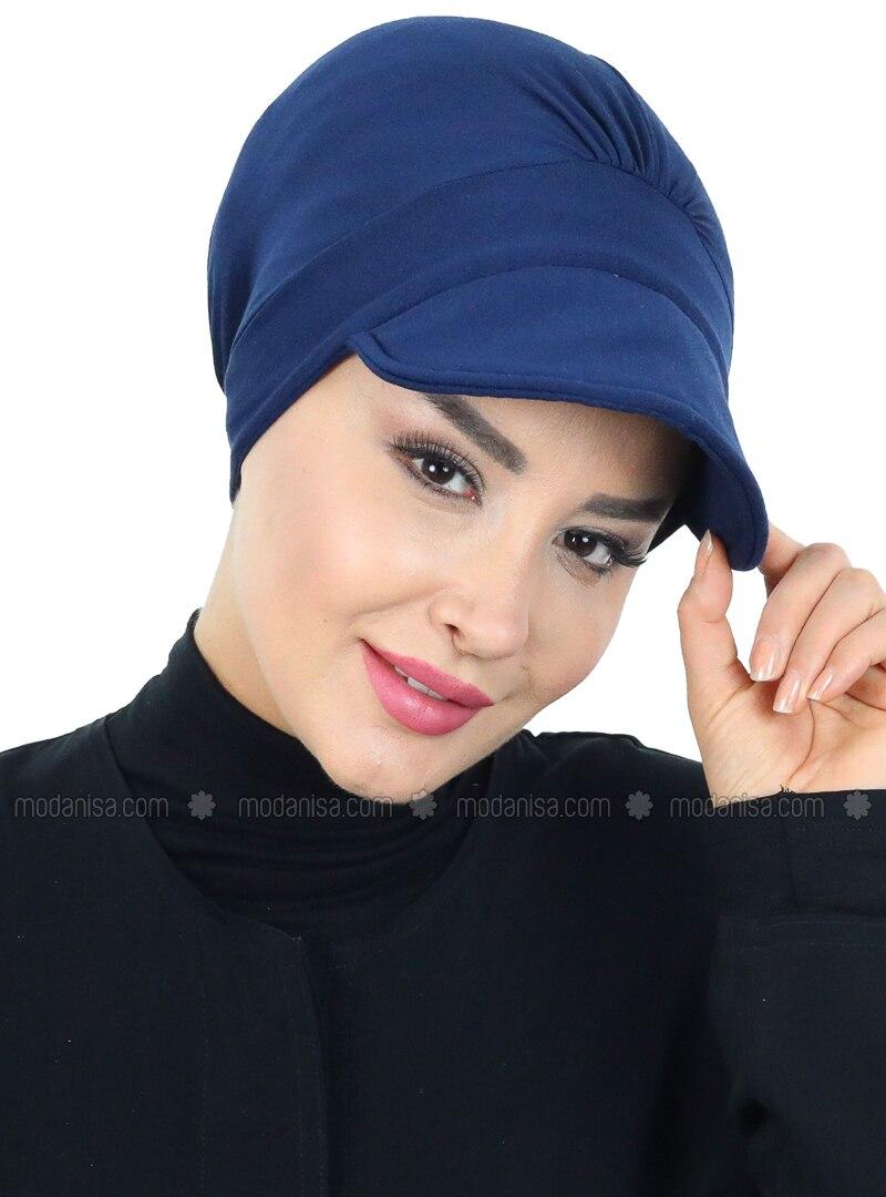 Navy Blue - Plain - Cotton - Bonnet