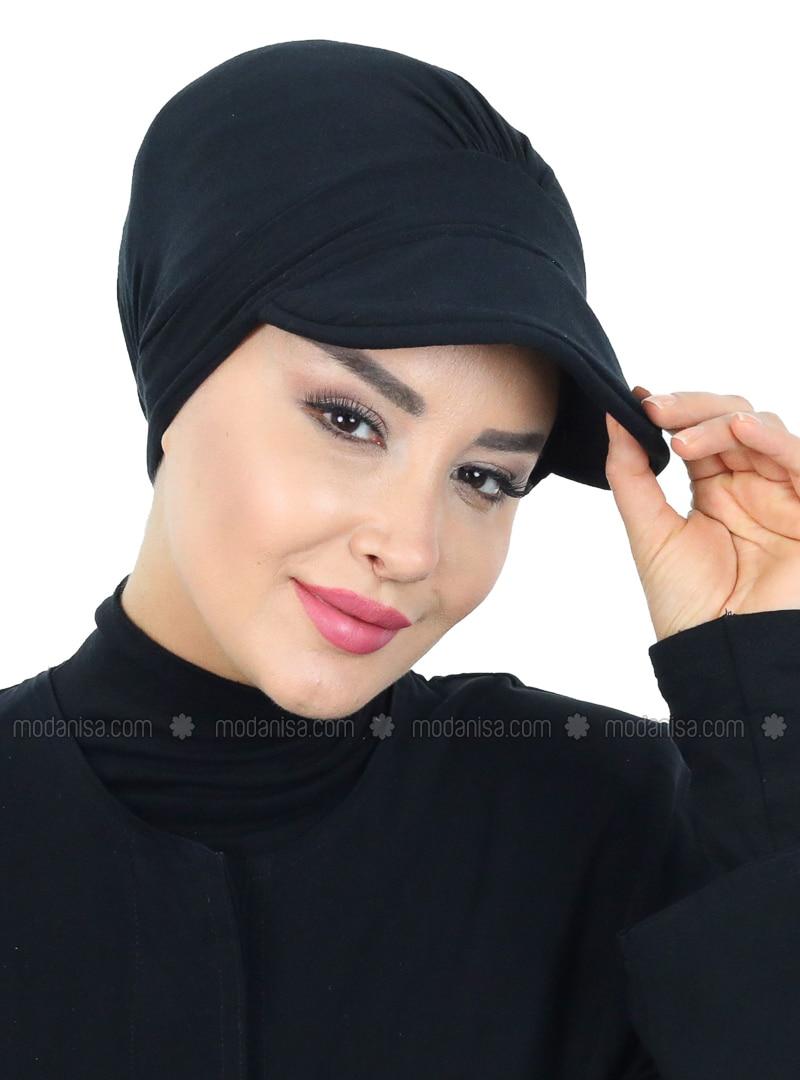 Black - Plain - Cotton - Bonnet