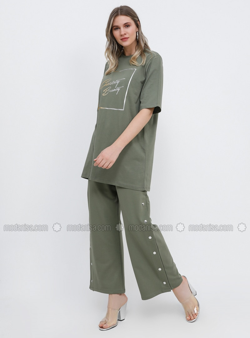 Khaki - Cotton - Plus Size Pants