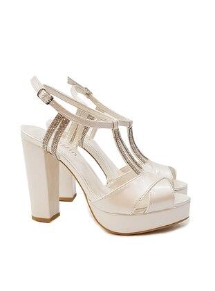 Ecru - High Heel - Evening Shoes