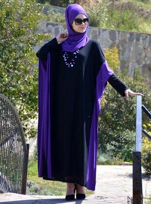 Black - Purple - Unlined - Viscose - Abaya