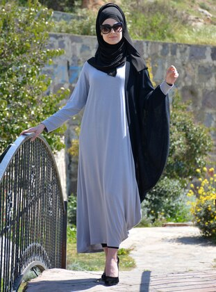 Black - Gray - Unlined - Viscose - Dress