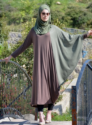 Green - Brown - Unlined - Viscose - Dress