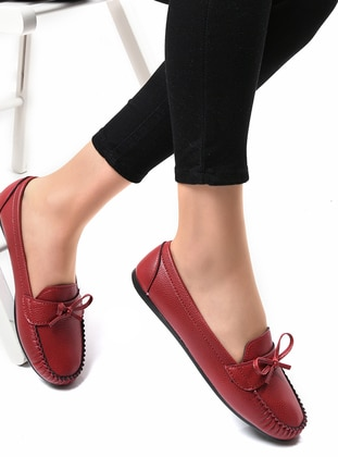 Maroon - Casual - Flat Shoes