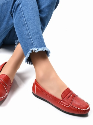 Red - Casual - Flat Shoes
