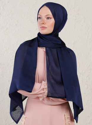 Navy Blue - Two-way - Plain - Shawl