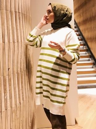 Green - Ecru - Stripe - Cotton - Tunic