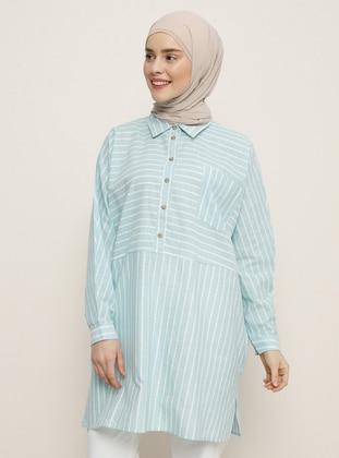 Mint - Stripe - Point Collar - Cotton - Tunic