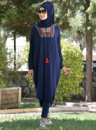 Navy Blue - Ethnic - Viscose - Tunic