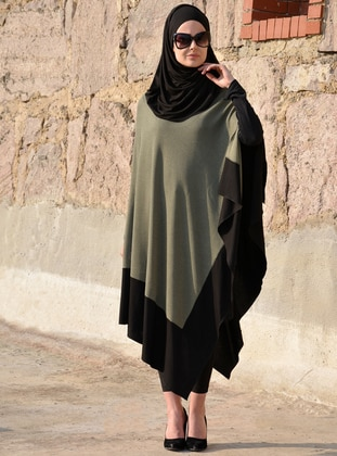 Black - Khaki - Unlined - Cotton - Viscose - Poncho