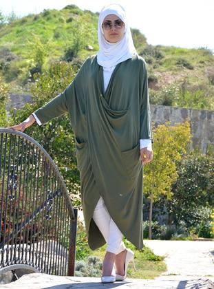 Khaki - Shawl Collar - Viscose - Tunic
