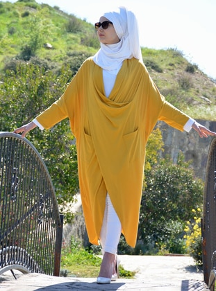 Yellow - Shawl Collar - Viscose - Tunic