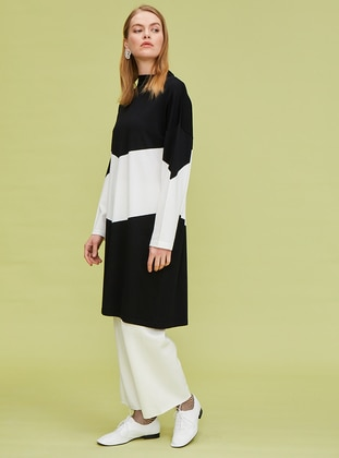 Black - White - Rayon - Nylon - Tunic