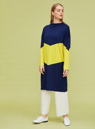 Yellow - Navy Blue - Rayon - Nylon - Tunic