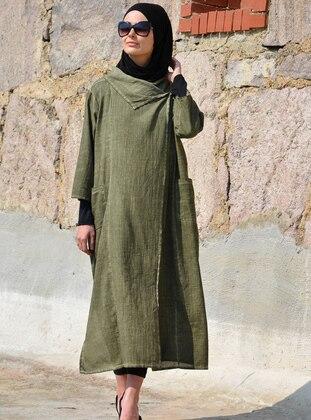 Khaki - Unlined - Cotton - Linen - Abaya