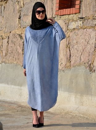 Blue - Indigo - Unlined - Cotton - Dress