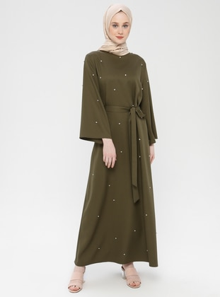 Khaki - Unlined - Crew neck - Cotton - Muslim Evening Dress