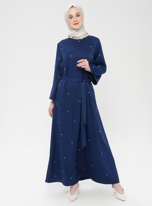 Indigo - Unlined - Crew neck - Cotton - Muslim Evening Dress