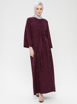 Plum - Unlined - Crew neck - Cotton - Muslim Evening Dress