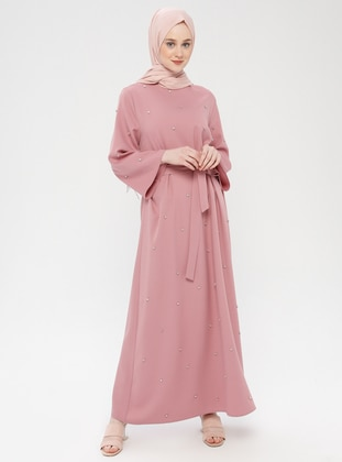 Powder - Unlined - Crew neck - Cotton - Muslim Evening Dress