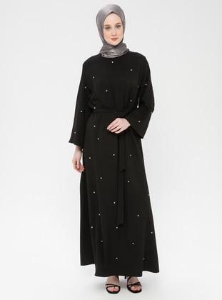 Black - Unlined - Crew neck - Cotton - Muslim Evening Dress