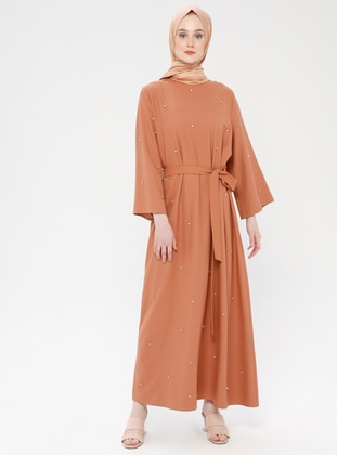 - Unlined - Crew neck - Cotton - Muslim Evening Dress