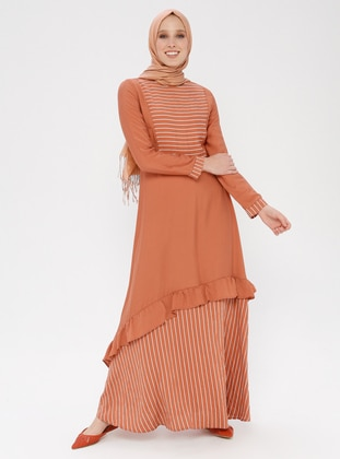 Tan - Stripe - Crew neck - Unlined - Viscose - Dress