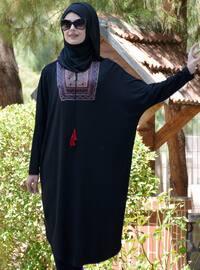 Black - Ethnic - Viscose - Tunic