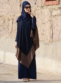 Navy Blue - Brown - Unlined - Cotton - Viscose - Poncho