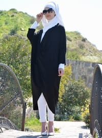 Black - Shawl Collar - Viscose - Tunic