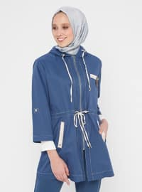 Blue - Navy Blue - Indigo - Unlined - Trench Coat