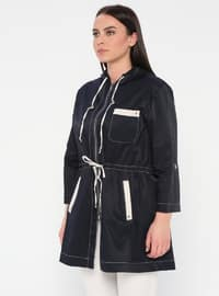 Navy Blue - Unlined - Trench Coat