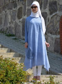 Indigo - Unlined - Cotton - Dress