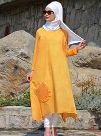 Yellow - Unlined - Cotton - Dress