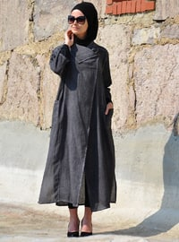 Anthracite - Unlined - Cotton - Linen - Abaya