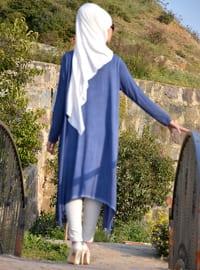 Navy Blue - Indigo - Cotton - Tunic