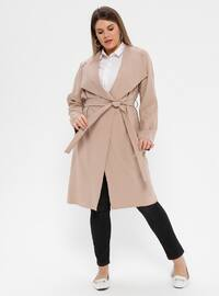 Mink - Unlined - Shawl Collar - Plus Size Trench coat