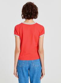 Red - Crew neck - T-Shirt