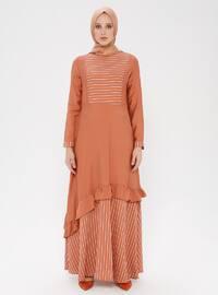 Tan - Stripe - Crew neck - Unlined - Viscose - Dress