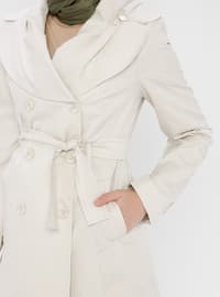 White - Ecru - Fully Lined - Shawl Collar - Trench Coat