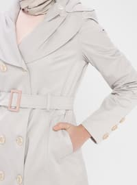 Blue - Fully Lined - Shawl Collar - Trench Coat