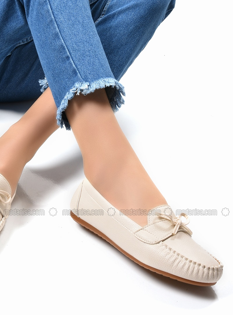 Beige - Casual - Flat Shoes