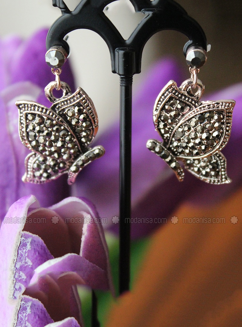 Black - Rose - Earring