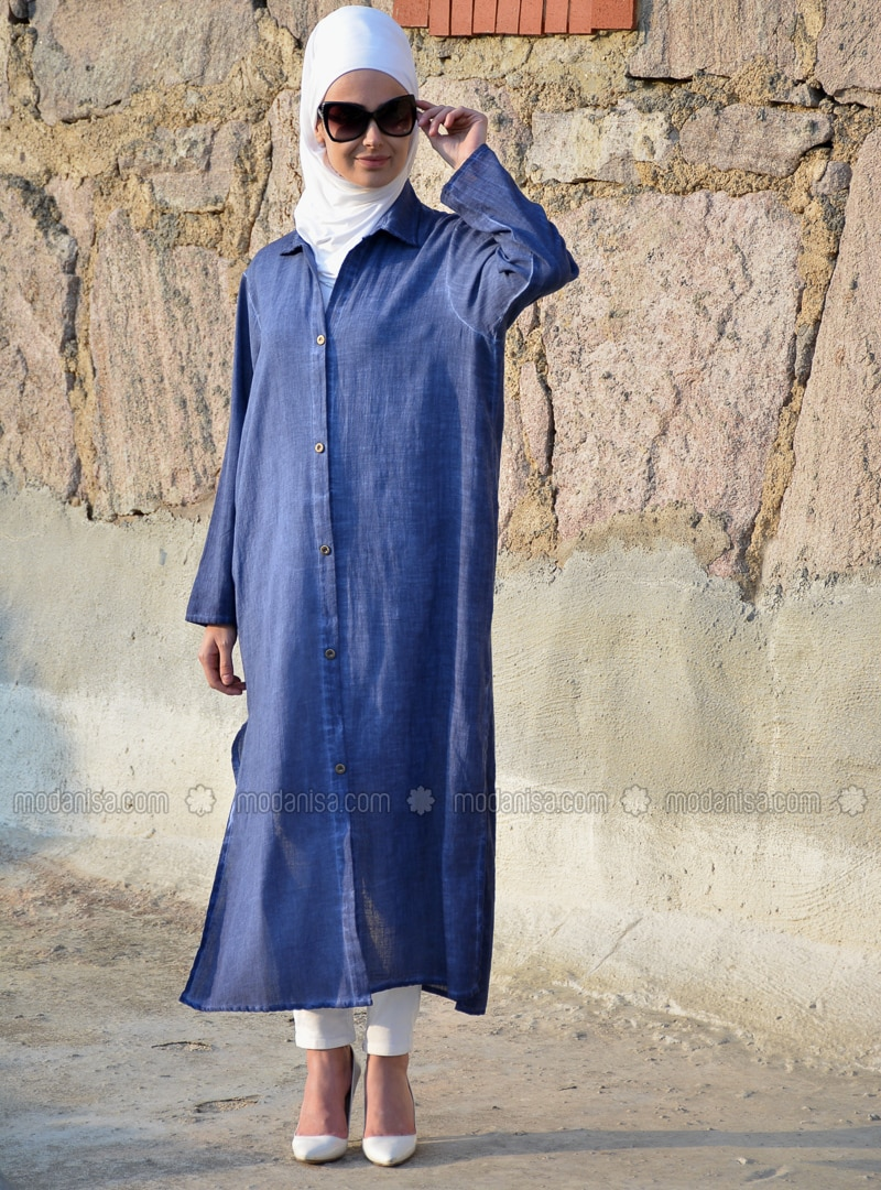 Navy Blue - Indigo - Unlined - Cotton - Linen - Abaya