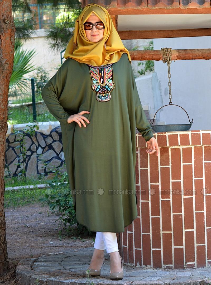 Green - Khaki - Viscose - Tunic